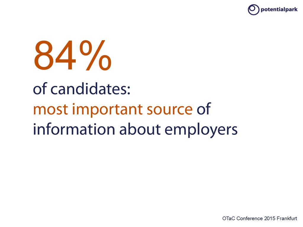 OTaC Conference 2015 Frankfurt 84% of candidate...