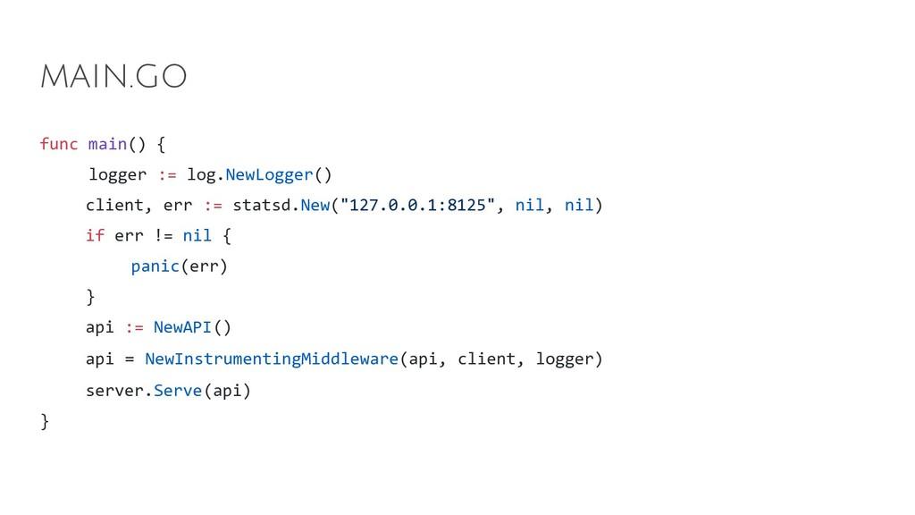 func main() { logger := log.NewLogger() client,...