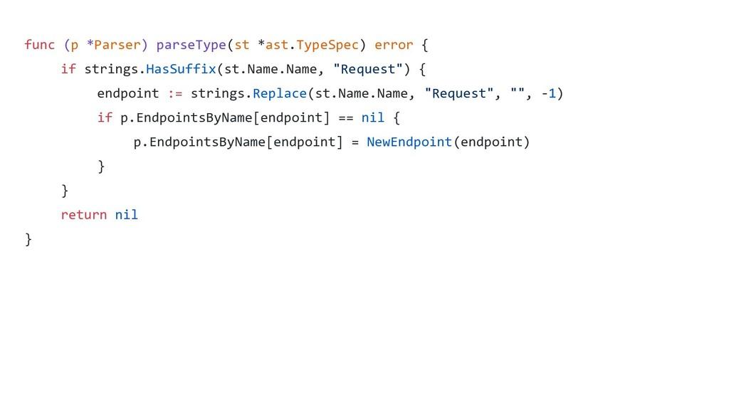 func (p *Parser) parseType(st *ast.TypeSpec) er...