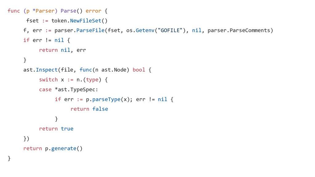 func (p *Parser) Parse() error { fset := token....