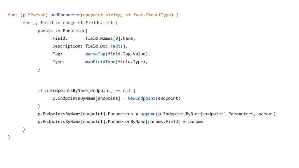 func (p *Parser) addParameter(endpoint string, ...