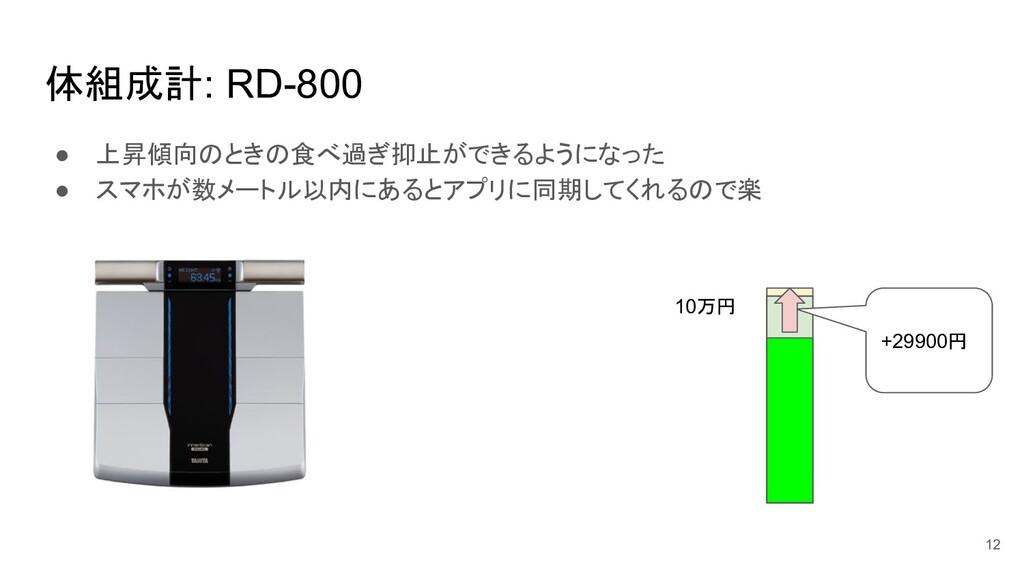 体組成計: RD-800 ● 上昇傾向のときの食べ過ぎ抑止ができるようになった ● スマホが数...