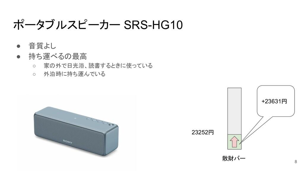 ポータブルスピーカー SRS-HG10 ● 音質よし ● 持ち運べるの最高 ○ 家の外で日光浴...