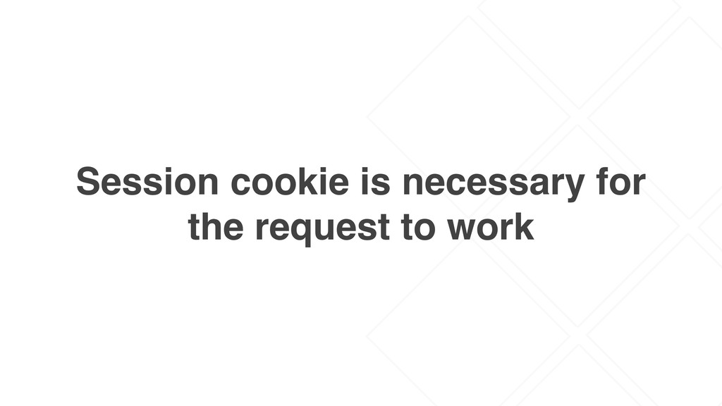 Session cookie is necessary for the request to ...