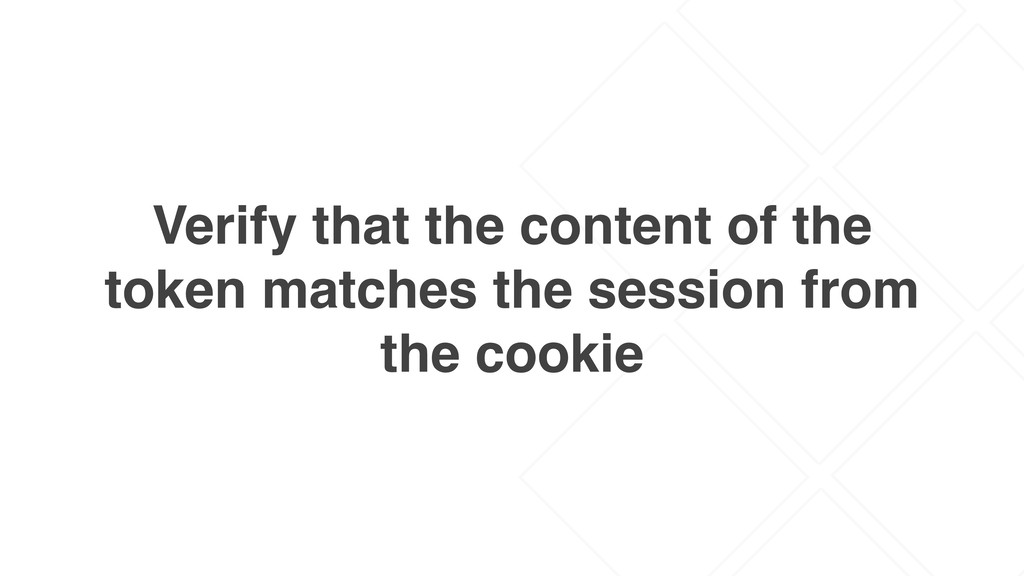 Verify that the content of the token matches th...