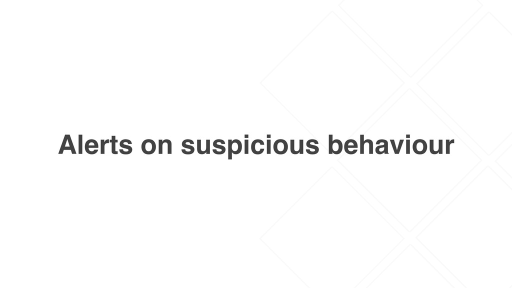 Alerts on suspicious behaviour