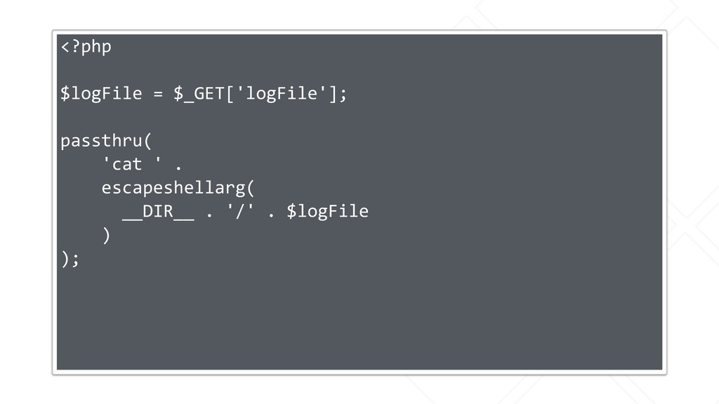 <?php $logFile = $_GET['logFile']; passthru( 'c...