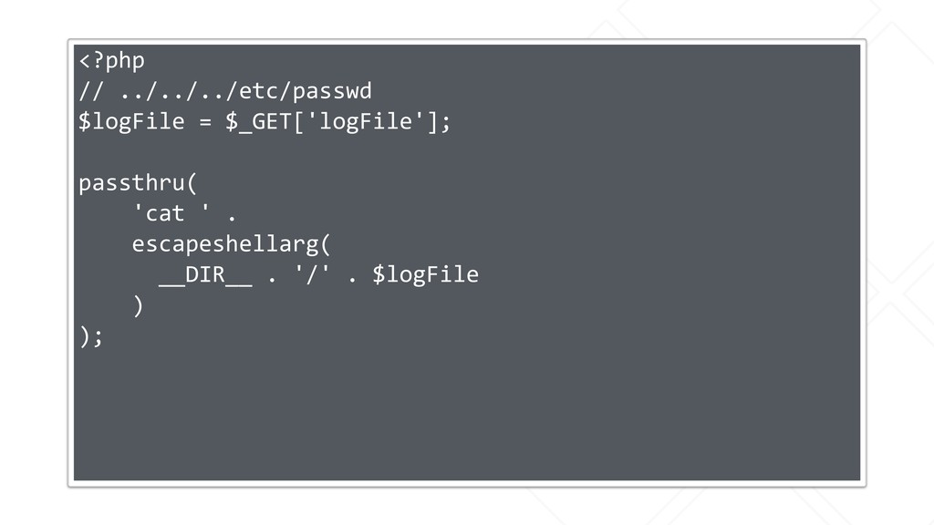 <?php // ../../../etc/passwd $logFile = $_GET['...