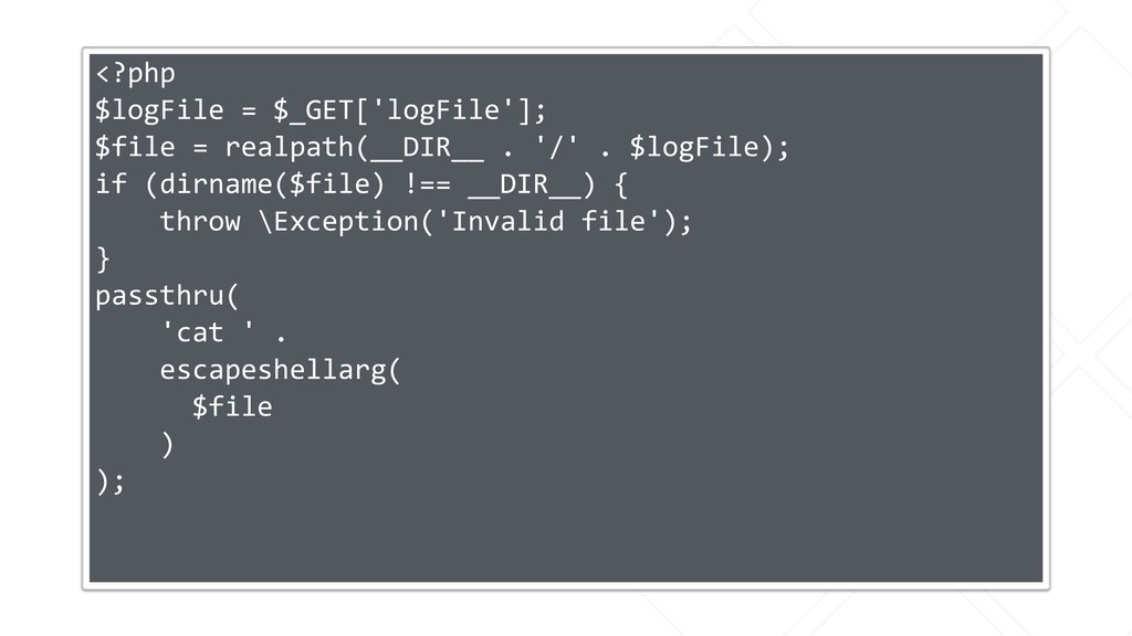<?php $logFile = $_GET['logFile']; $file = real...