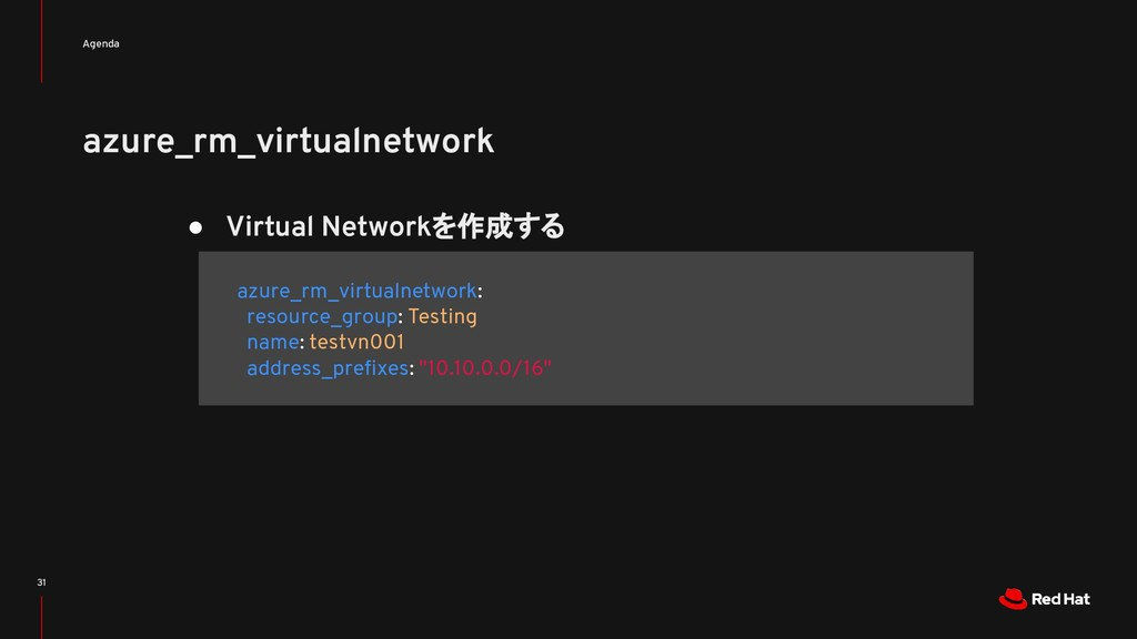 azure_rm_virtualnetwork Agenda 31 ● Virtual Net...