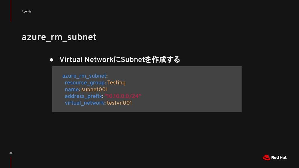 azure_rm_subnet Agenda 32 ● Virtual NetworkにSub...
