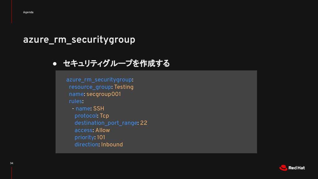 azure_rm_securitygroup Agenda 34 ● セキュリティグループを作...