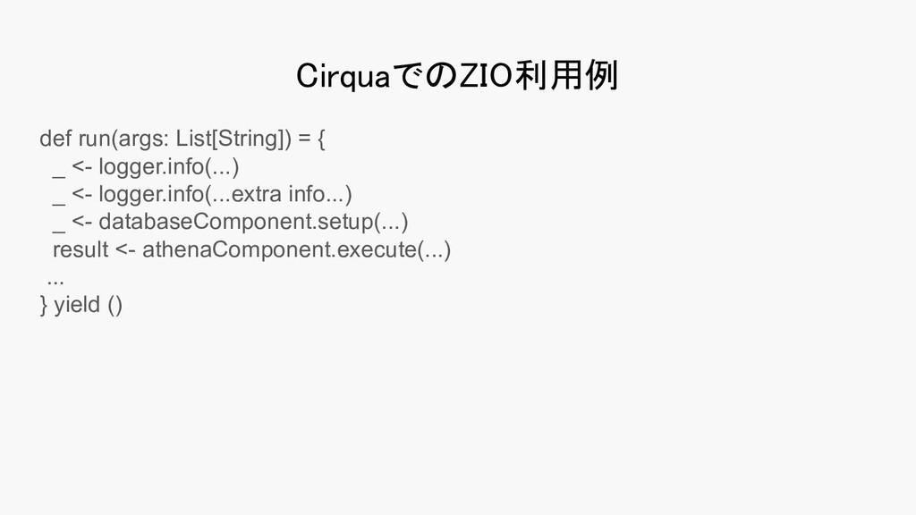 CirquaでのZIO利用例 def run(args: List[String]) = {...