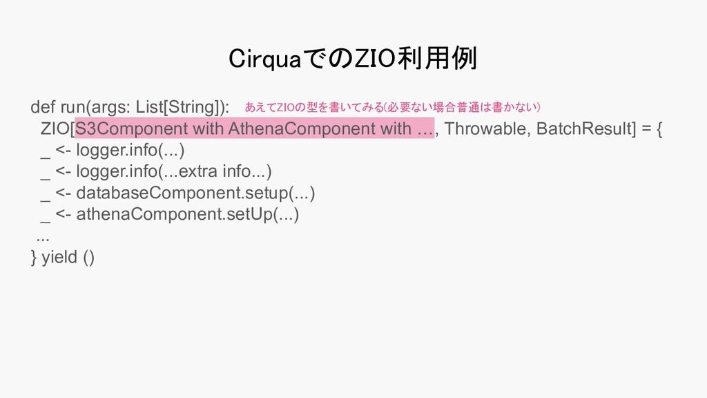 CirquaでのZIO利用例 def run(args: List[String]): ZI...
