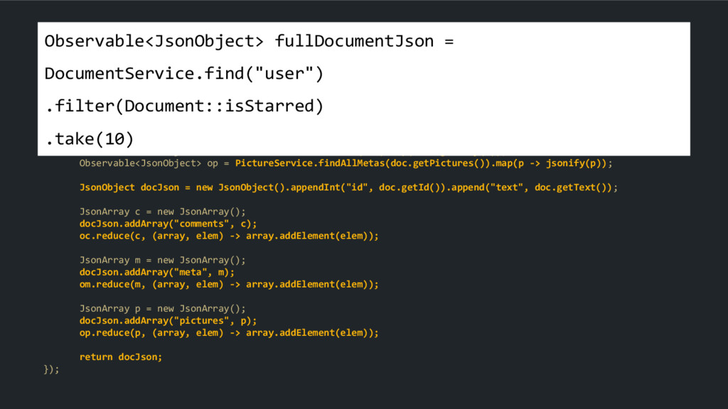 Observable<JsonObject> fullDocumentJson = Docum...