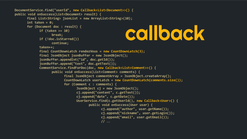 "callback DocumentService.find(""userId"", new Cal..."