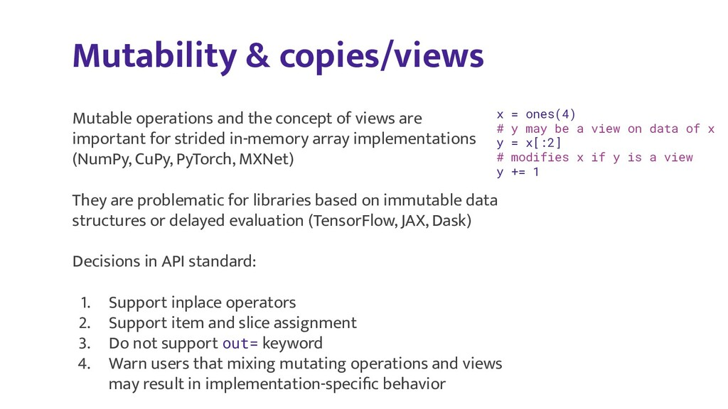 Mutability & copies/views x = ones(4) # y may b...