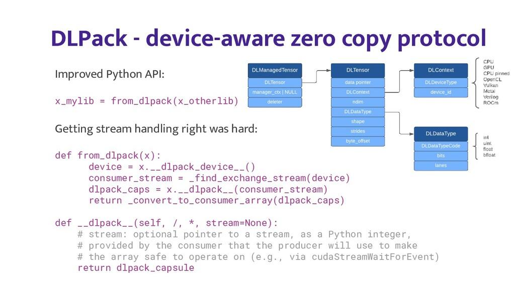 DLPack - device-aware zero copy protocol Improv...