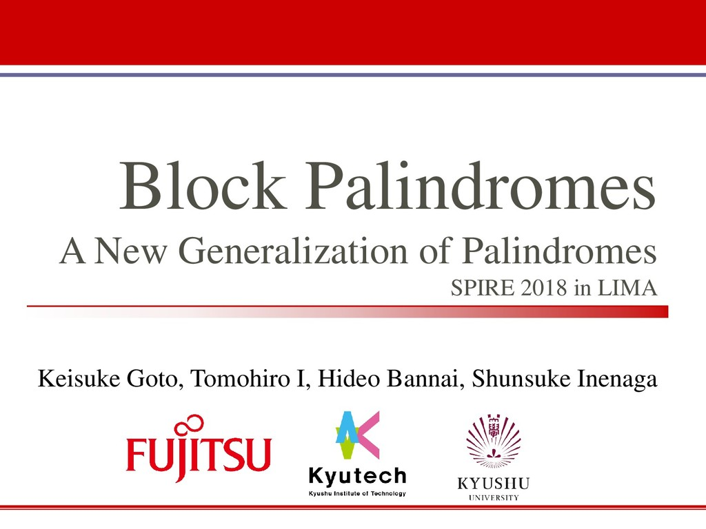 Block Palindromes A New Generalization of Palin...