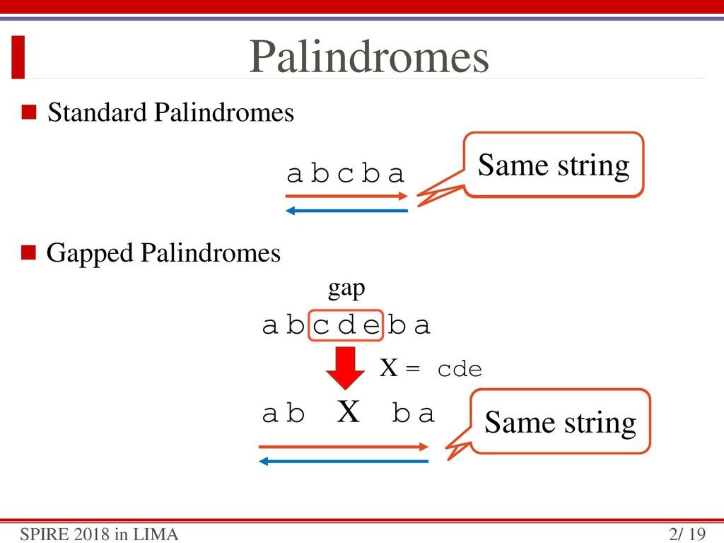  Standard Palindromes Palindromes a b c b a Sa...