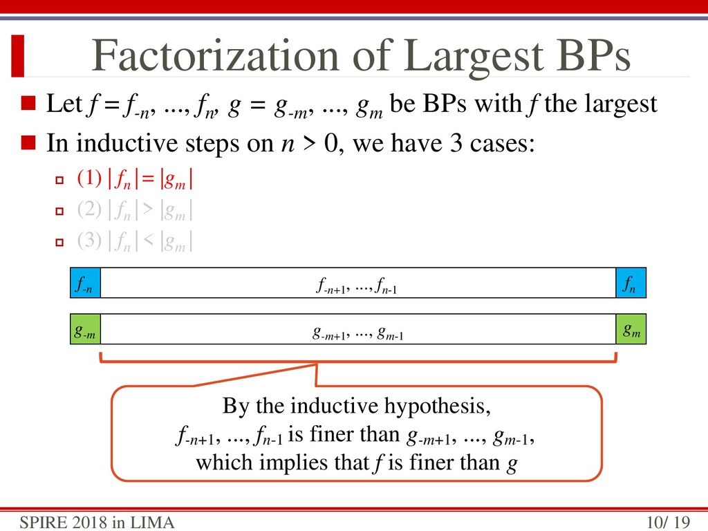 g-m+1 , ..., gm-1 Factorization of Largest BPs ...