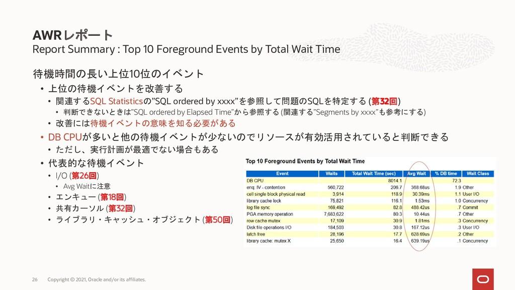 待機時間の長い上位10位のイベント • 上位の待機イベントを改善する • 関連するSQL St...