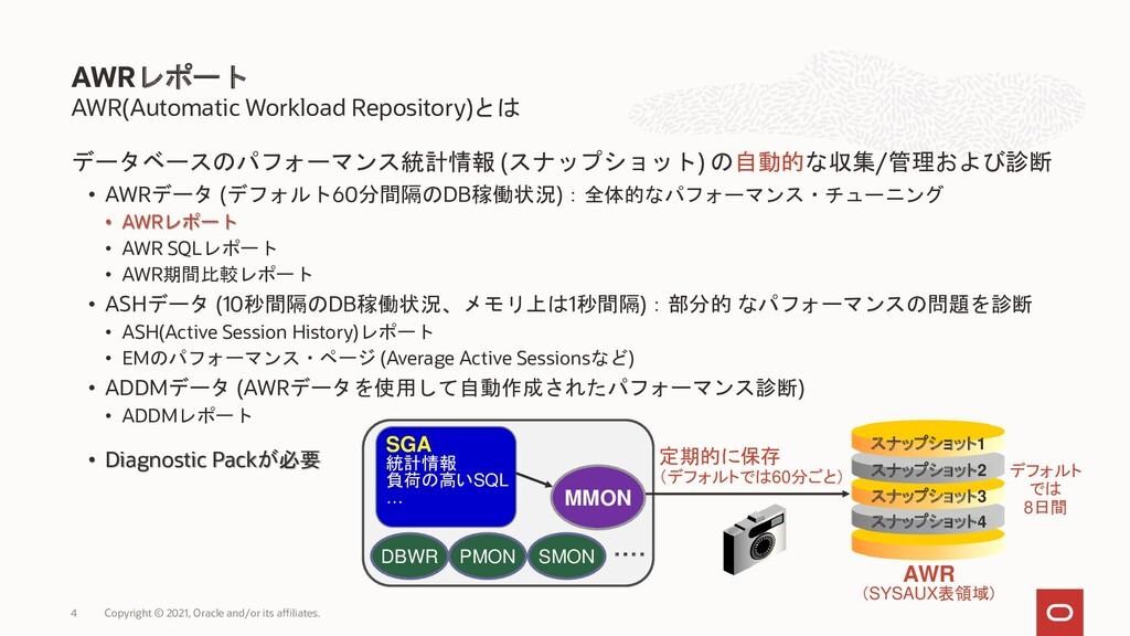 AWR(Automatic Workload Repository)とは データベースのパフォ...