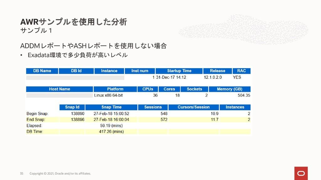サンプル1 ADDMレポートやASHレポートを使用しない場合 • Exadata環境で多少負荷...