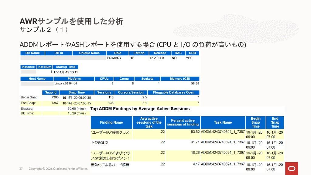 サンプル2(1) ADDMレポートやASHレポートを使用する場合 (CPU と I/O の負荷...