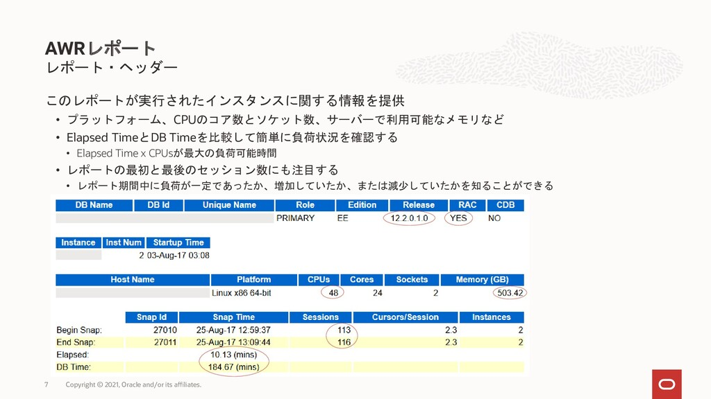このレポートが実行されたインスタンスに関する情報を提供 • プラットフォーム、CPUのコア数と...