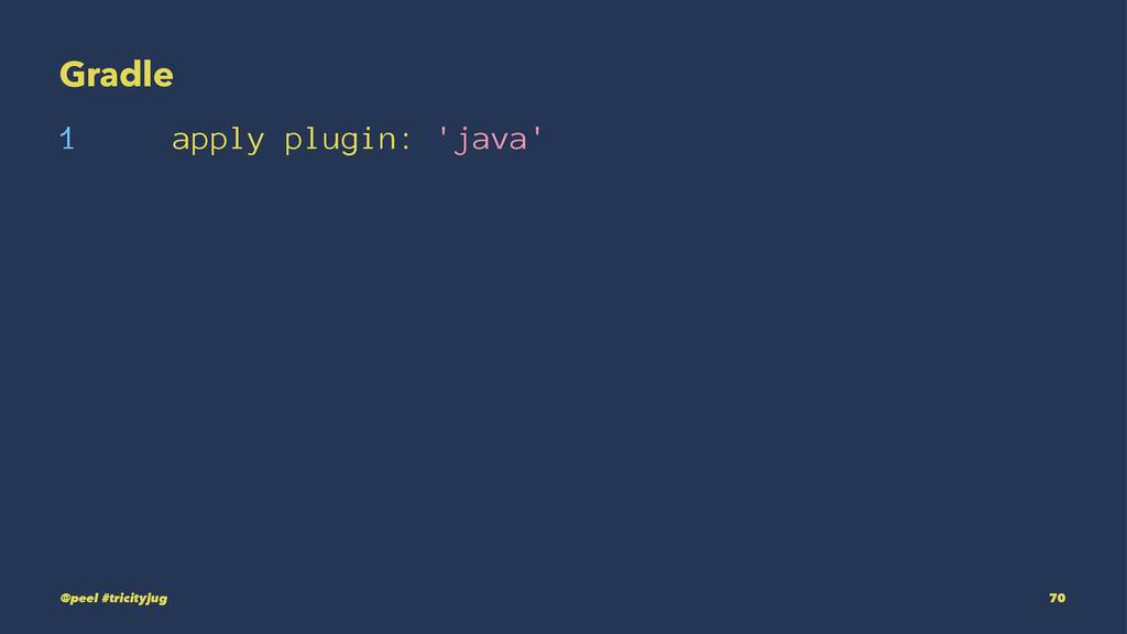Gradle 1 apply plugin: 'java' @peel #tricityjug...