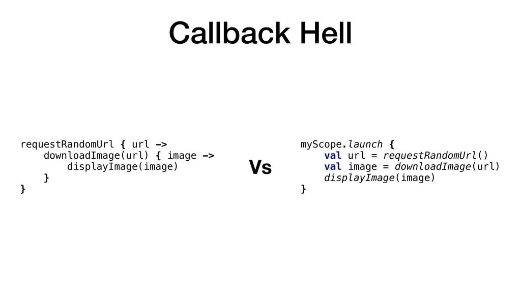 Callback Hell requestRandomUrl { url -> downloa...