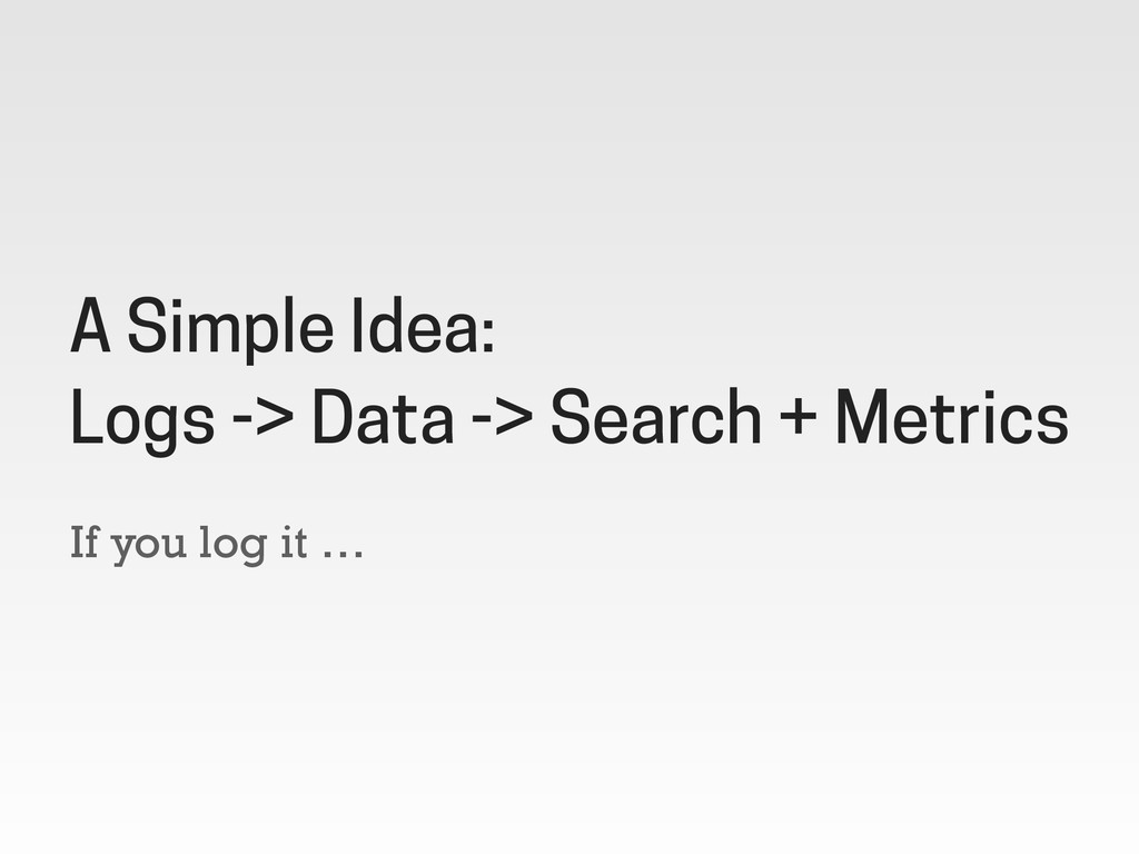 If you log it … A Simple Idea: Logs -> Data -> ...