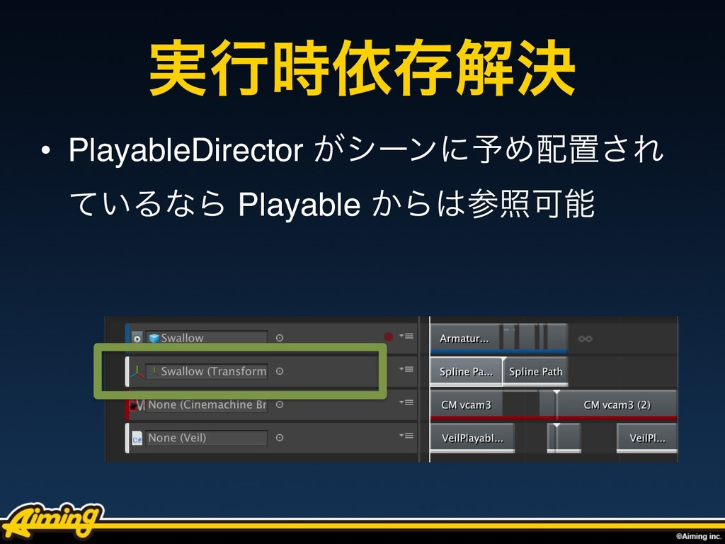 ࣮ߦґଘղܾ • PlayableDirector ͕γʔϯʹ༧Ίஔ͞Ε ͍ͯΔͳΒ Pl...