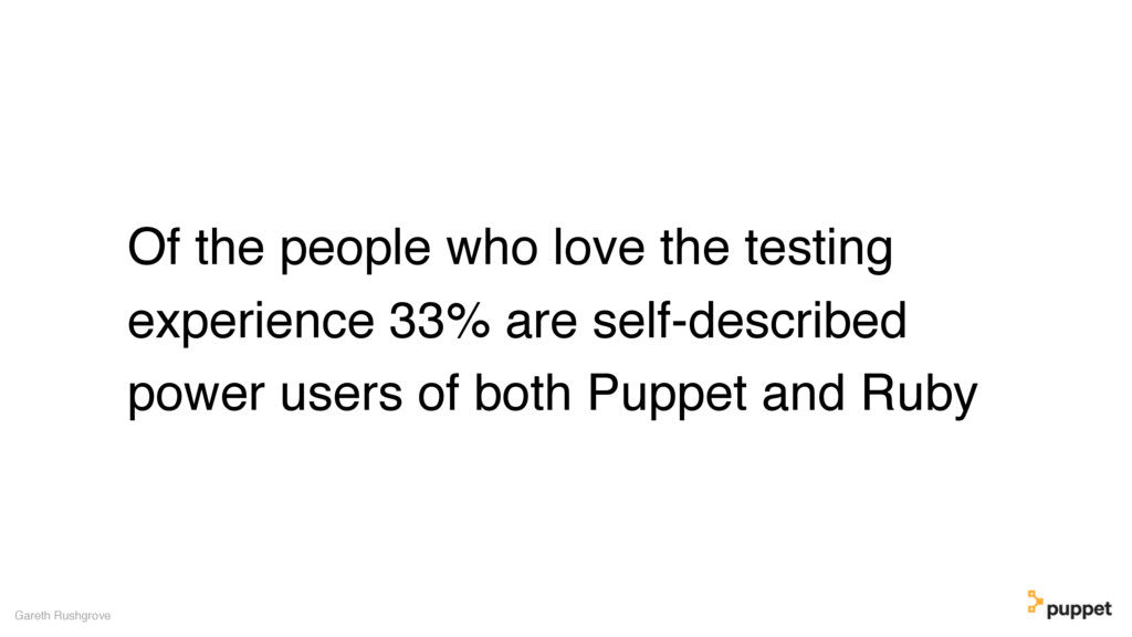 Of the people who love the testing experience 3...
