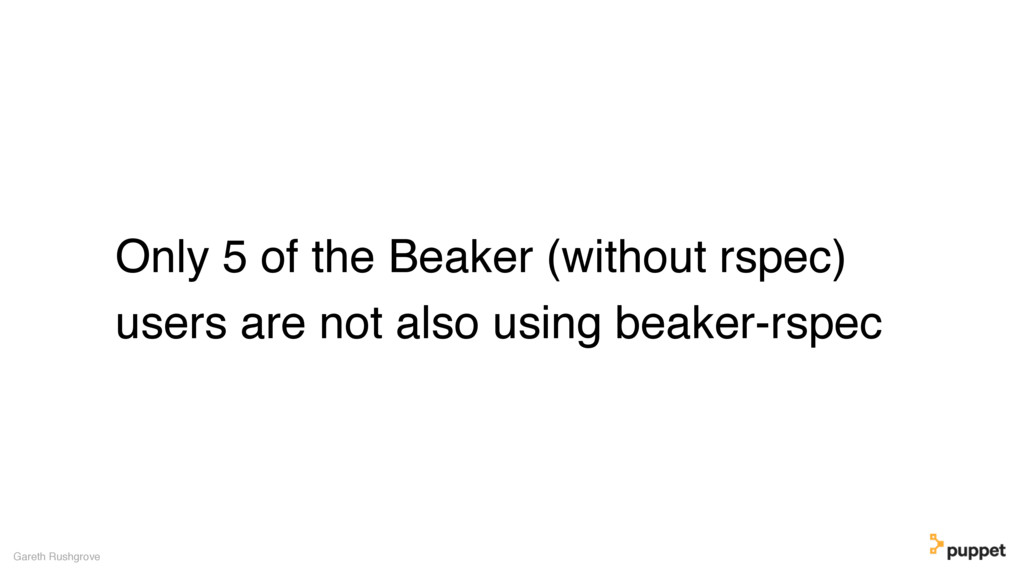 Only 5 of the Beaker (without rspec) users are ...