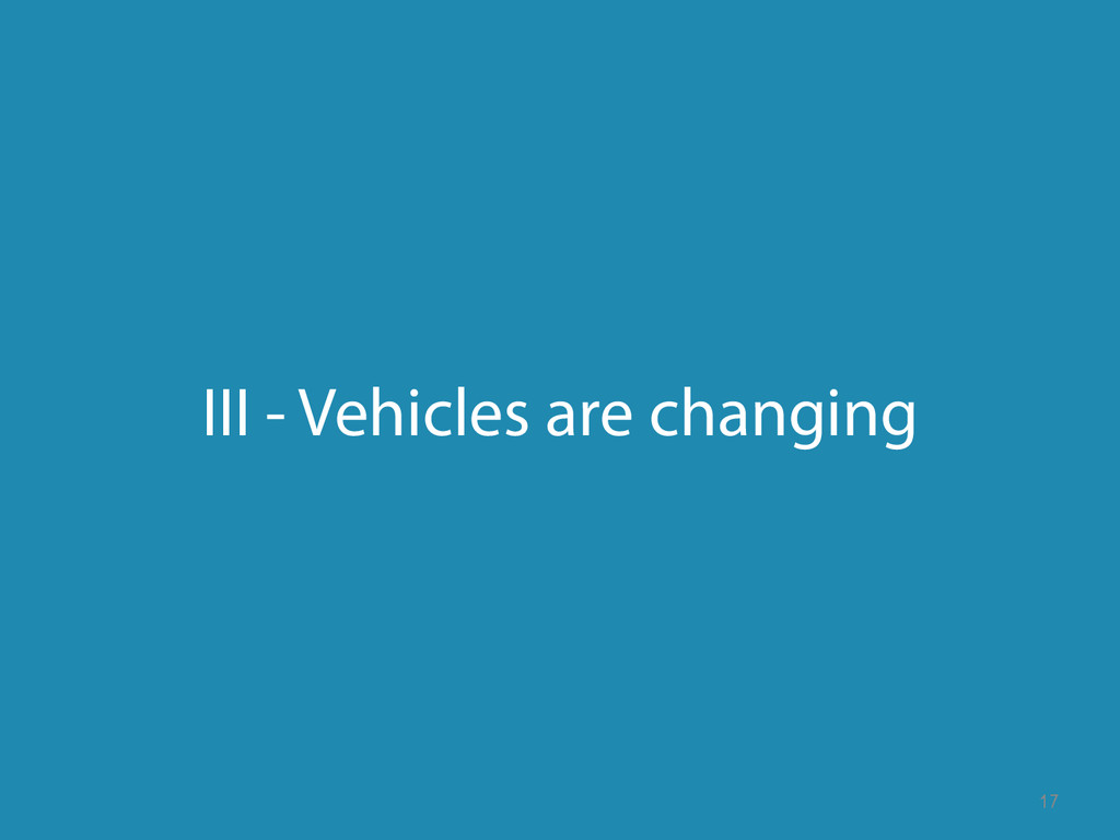 III - Vehicles are changing 17