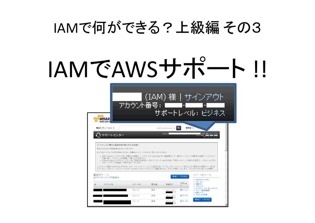 IAMで何ができる?上級編 その3 IAMでAWSサポート !!