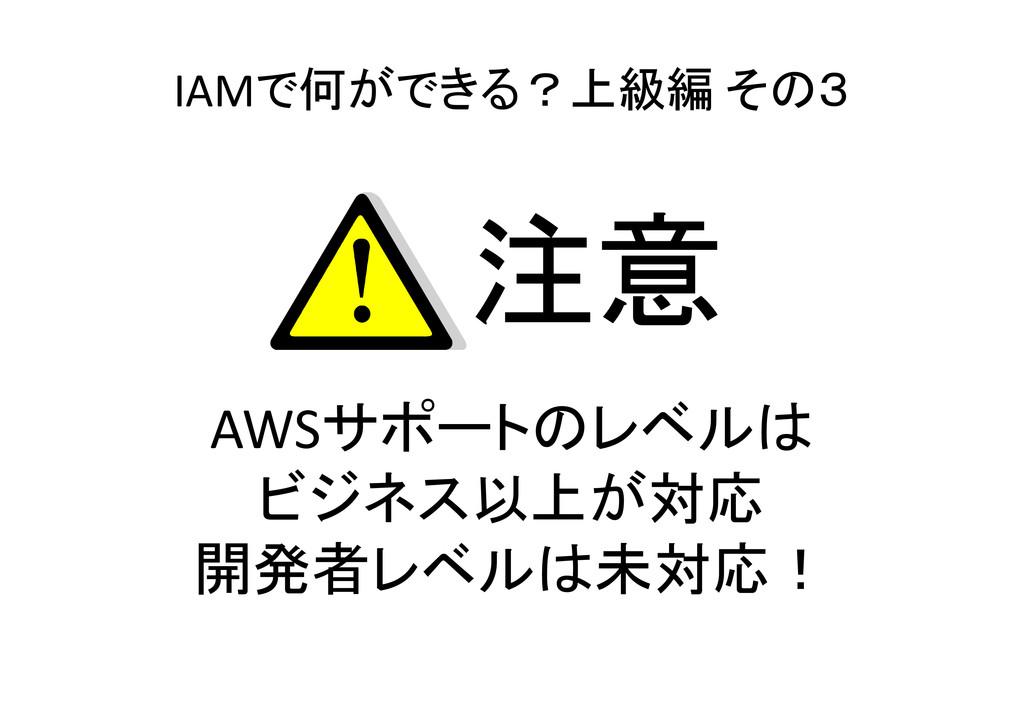 IAMで何ができる?上級編 その3 AWSサポートのレベルは ビジネス以上が対応 開発者レベル...