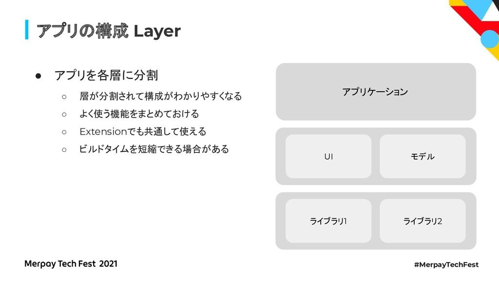 #MerpayTechFest アプリ 構成 Layer ● アプリを各層に分割 ○ 層が分割...