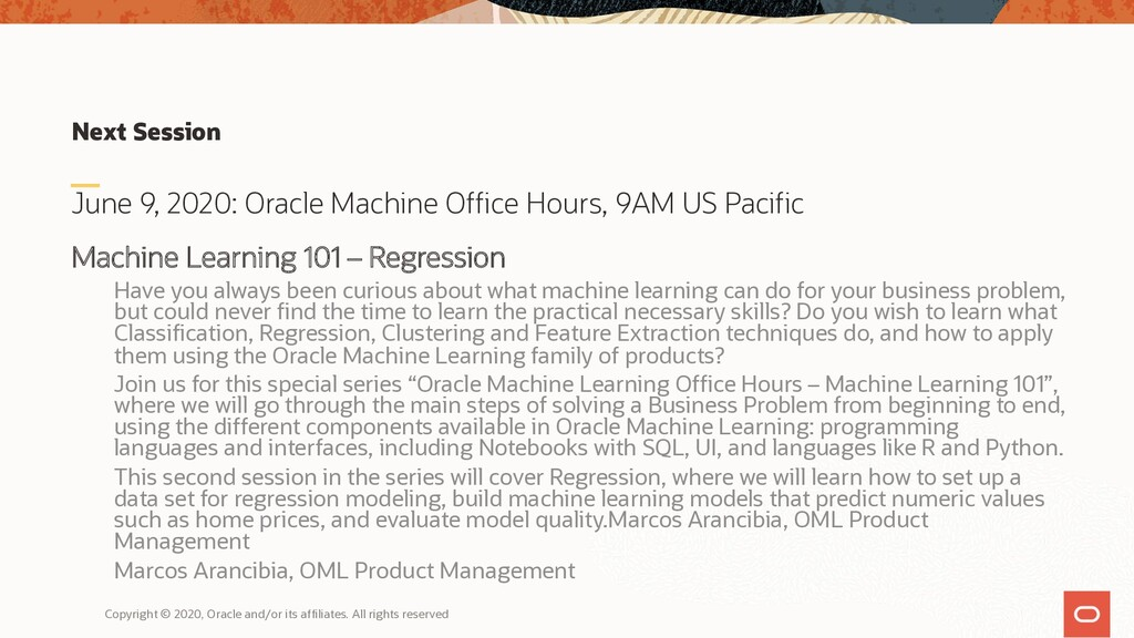 Next Session June 9, 2020: Oracle Machine Offic...