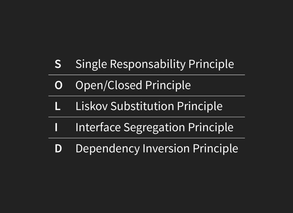 S Single Responsability Principle O Open/Closed...