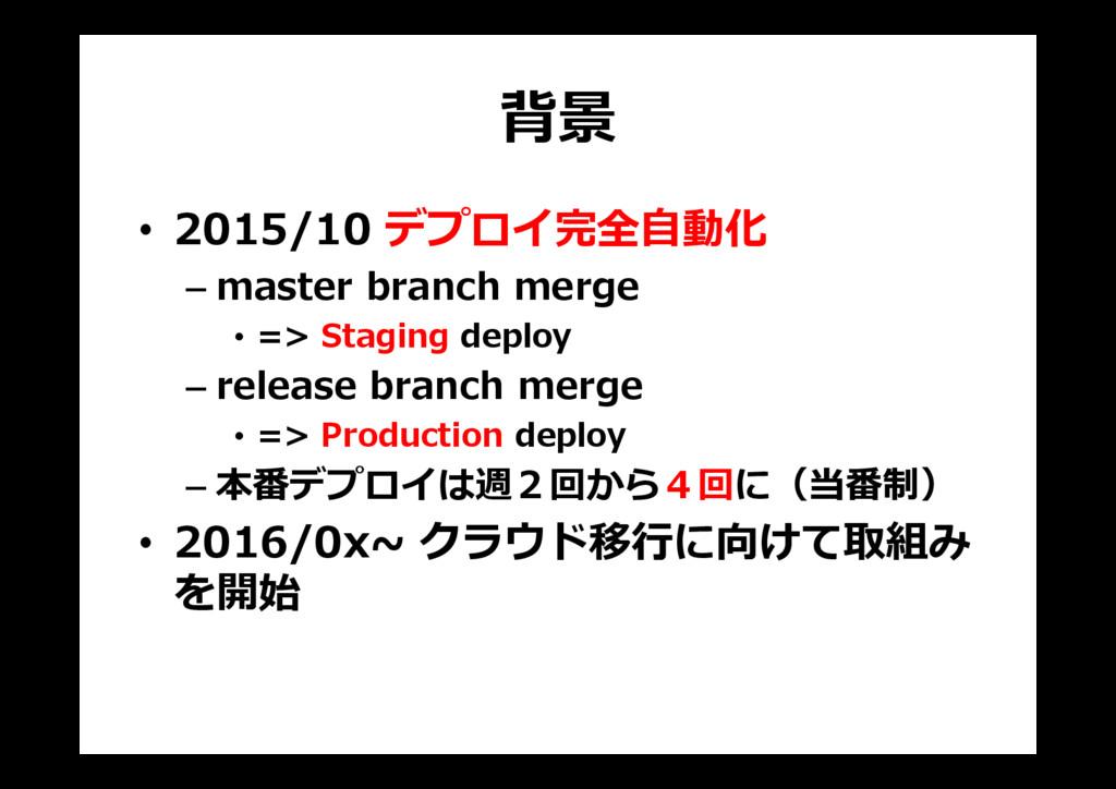 背景 • 2015/10 デプロイ完全自動化 – master branch merge • ...