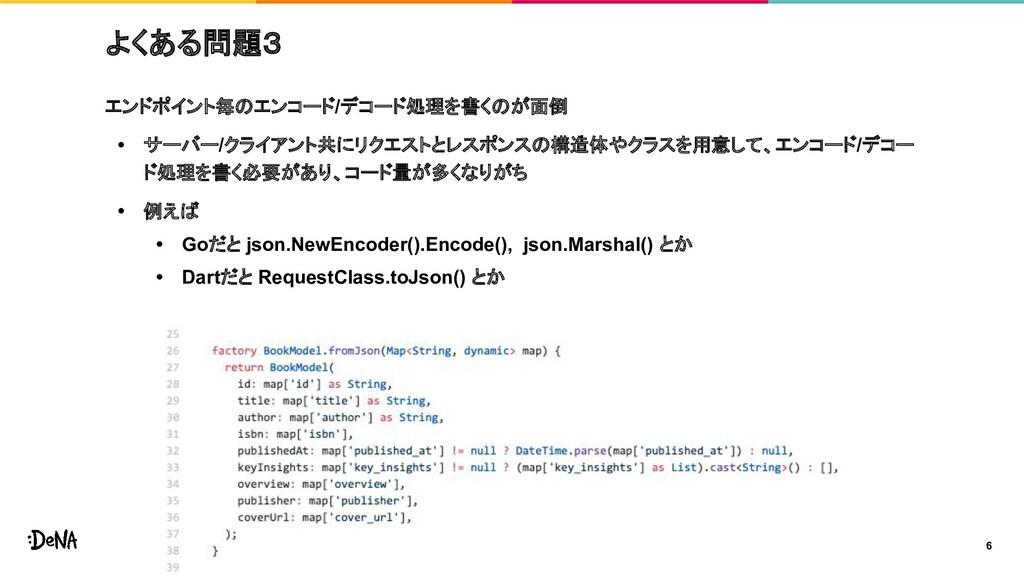 よくある問題3 エンドポイント毎のエンコード/デコード処理を書くのが面倒 • サーバー/クライ...
