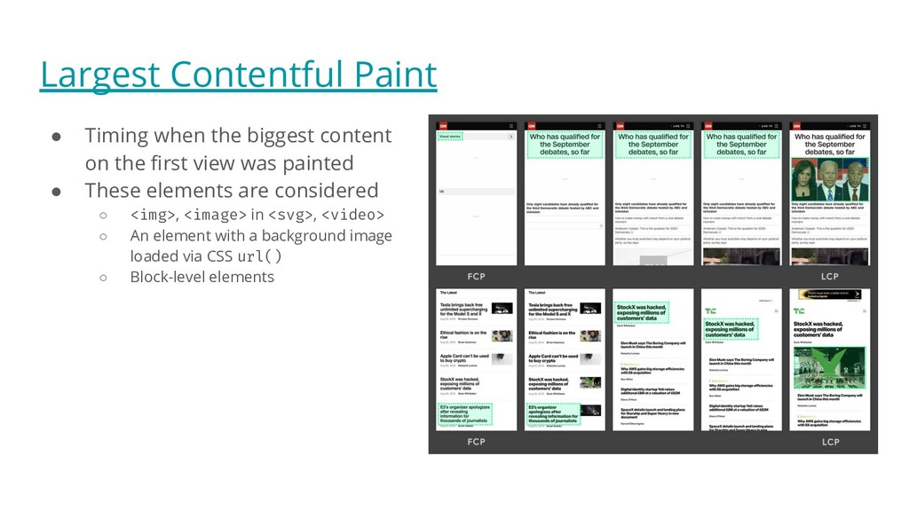 Largest Contentful Paint ● Timing when the bigg...