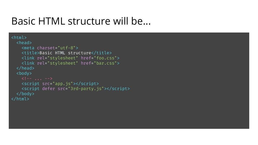 Basic HTML structure will be... <html> <head> <...