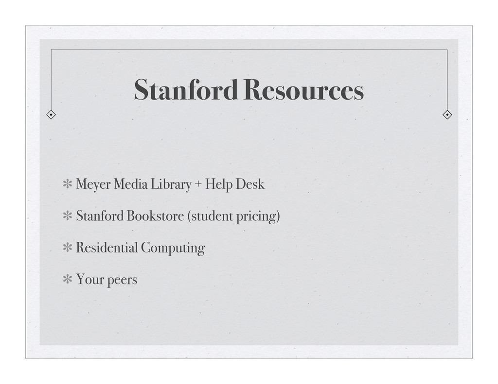 Stanford Resources Meyer Media Library + Help D...