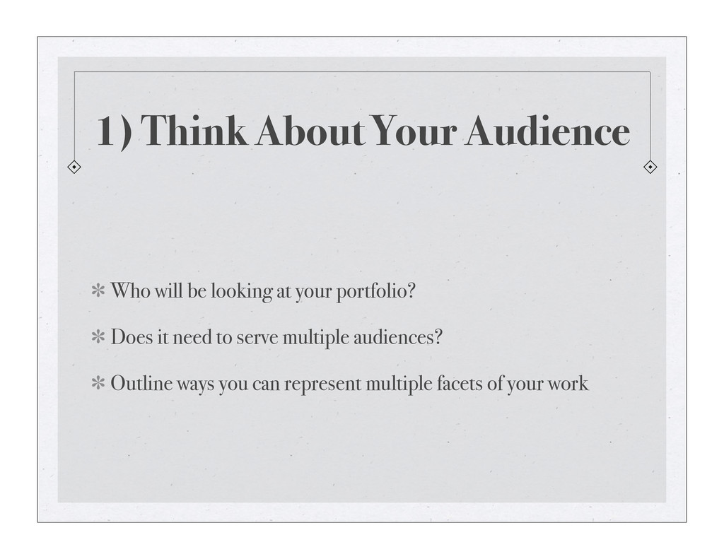 1) Think About Your Audience Who will be lookin...