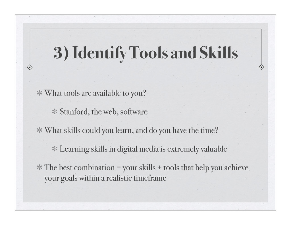 3) Identify Tools and Skills What tools are ava...