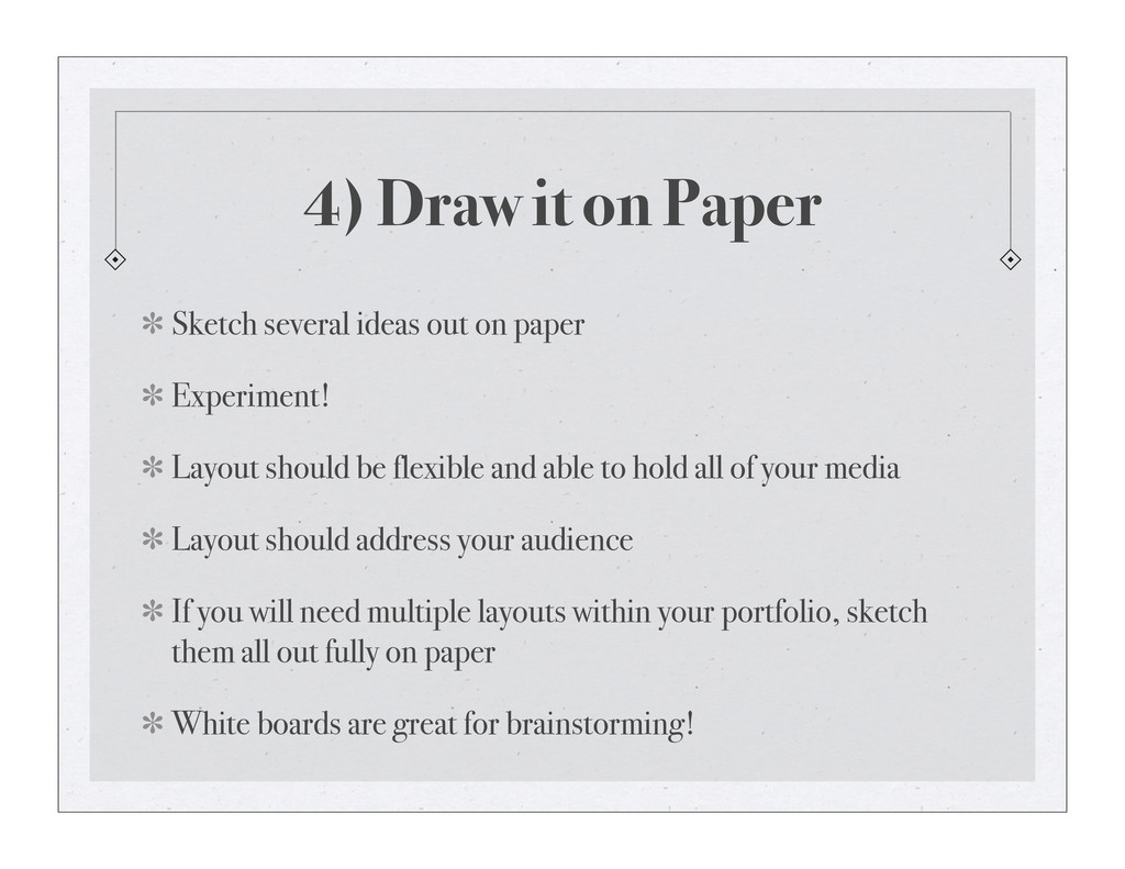 4) Draw it on Paper Sketch several ideas out on...